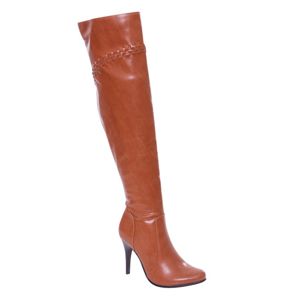 De Blossom Collection Dubai-22 Women Elastic Side Zip Over Knee High Dress Boots