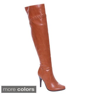 De Blossom Collection Dubai-22 Women Elastic Side Zip Over Knee High Dress Boots