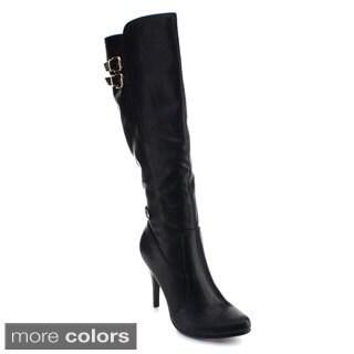 De Blossom Collection Dubai-23x Women's Elastic Side Zipper Knee High Dress Boots