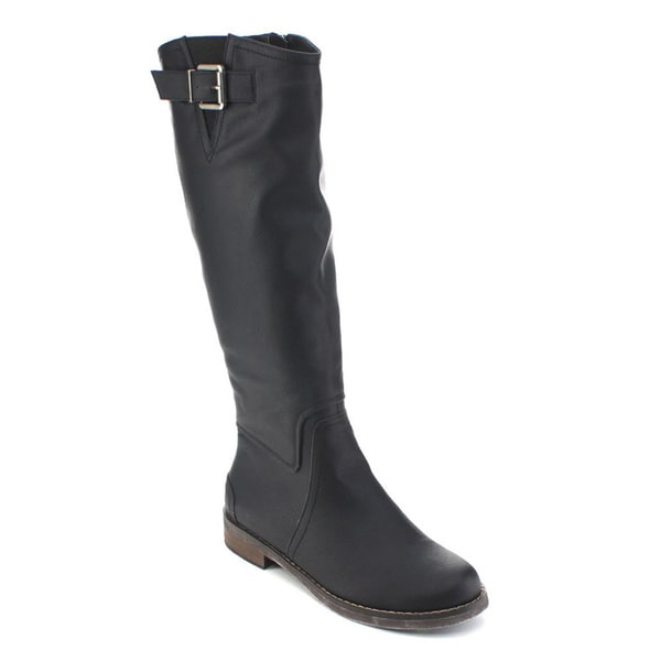 De Blossom Collection Harry-1 Women's Elastic Side Zipper Knee High Riding Boots