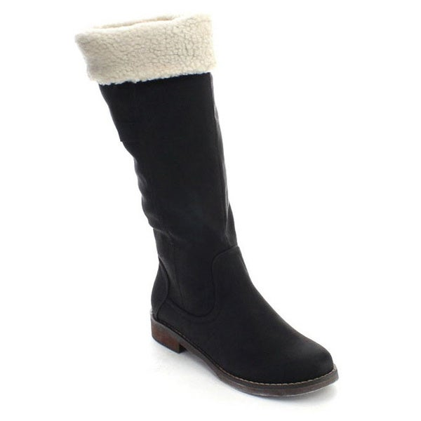 De Blossom Collection Harry-2 Women Faux Fur Collar Knee High Winter Riding Boots
