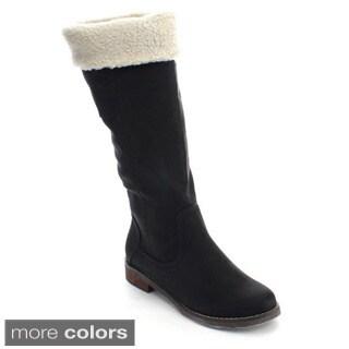 De Blossom Collection Harry-2 Women Faux Fur Collar Knee High Winter Riding Boots