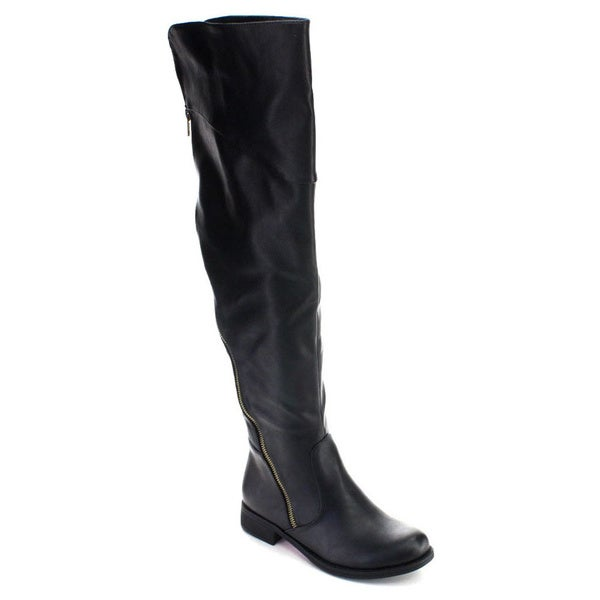 De Blossom Collection Mathew-4 Women's Side Zipper Over Knee High Riding Boots
