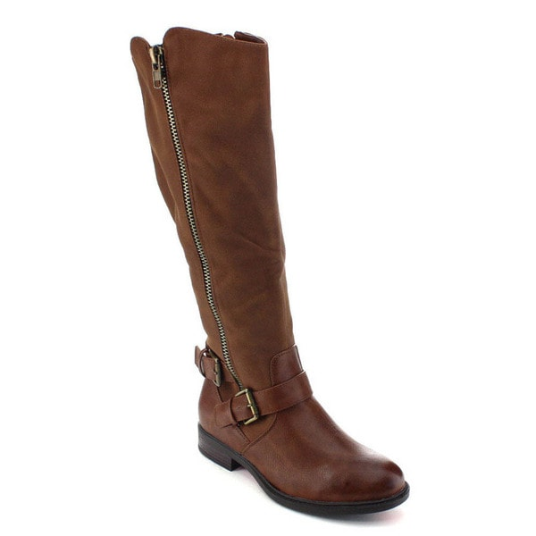De Blossom Collection Pita-31 Women Buckle Strap Elastic Knee High Riding Boots in Brown Size 9 (As Is Item)