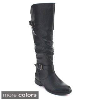 De Blossom Collection Pita-32 Women's Elastic Slouchy Knee High Riding Boots