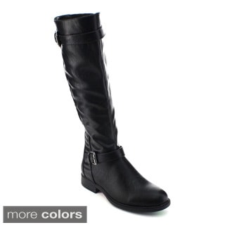 De Blossom Collection Pita-33 Women Buckle Strap Elastic Knee High Riding Boots
