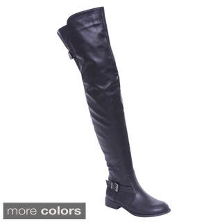 De Blossom Collection Renee-13 Women Buckle Side Zipper Thigh High Riding Boots