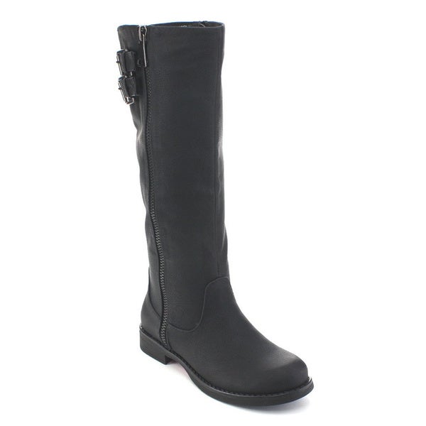 De Blossom Collection Zoey-13 Women's Buckle Elastic Knee High Riding Boots