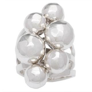 Kele & Co .925 Sterling Silver Hammered Cluster Ring