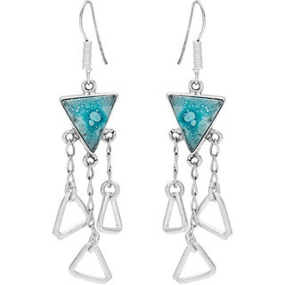 Kele & Co Caribbean Blue Dichroic Glass Earrings