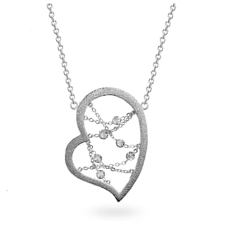 Metal Dream Catcher-inspired Crystal Heart Necklace