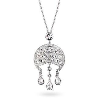 Silvertone Crystal Rhodium Deco Chandelier Drop Necklace