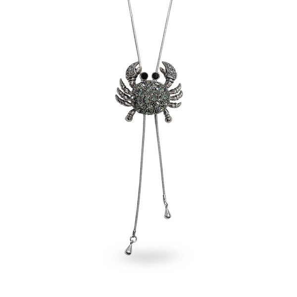 Metal Crystal Crab On a Tightrope Bolo Style Necklace