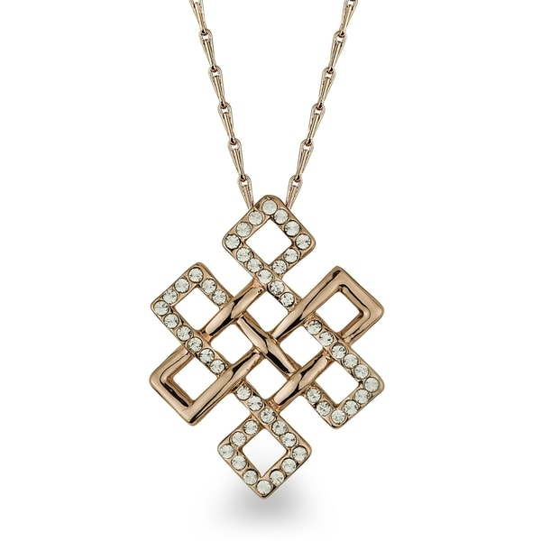 Rose-tone Square Maze Crystal Necklace