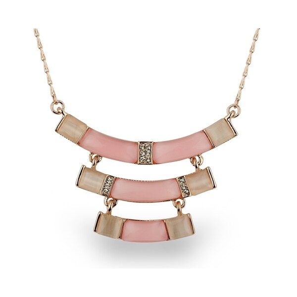 Rose-tone Peach and Pink Crystal Tiered Necklace
