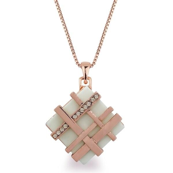Rose-tone Lattice Crystal Necklace