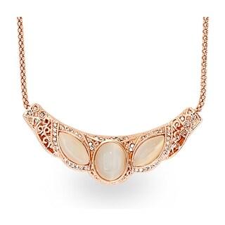 Rose-tone Rose Gold Cat Eye Crystal Panel Necklace