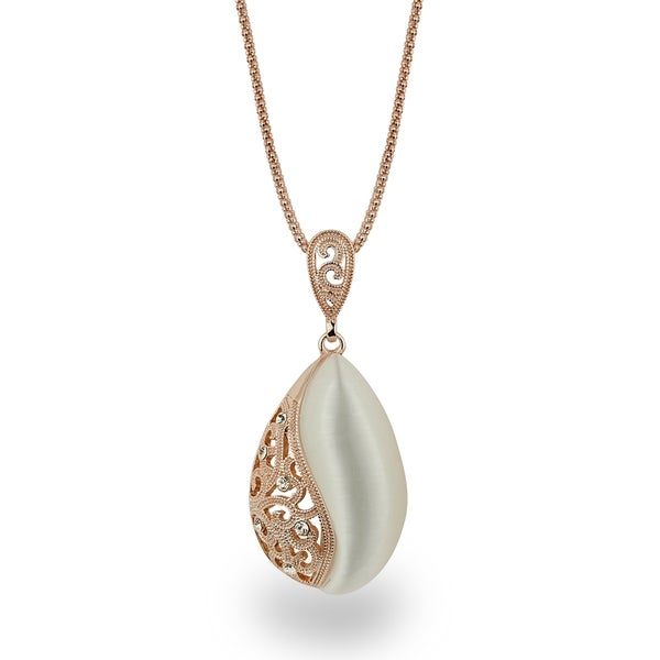 Rose-tone Rose Gold Oval Crystal Filigree Necklace