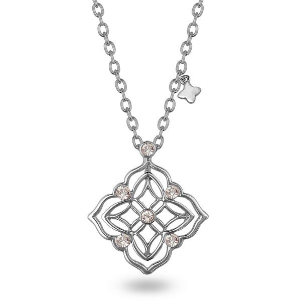 Metal Four Leaf Crystal Necklace