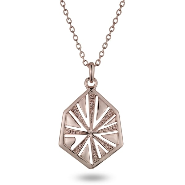 Rose-tone Hexagon Crystal Necklace