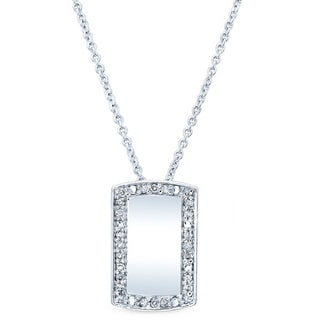 Estie G 18k White Gold 1/8ct TDW Diamond Dog Tag Pendant (H-I, SI1-SI2)