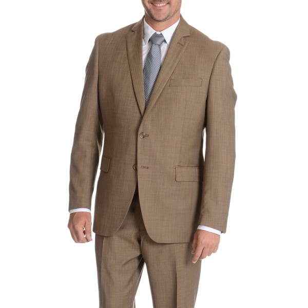 Daniel Hechter Men's Med Brown Wool Fancy Suit