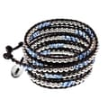 Greek Isles Blue and Silvertone Beaded Leather 5 Times Wrap Bracelet