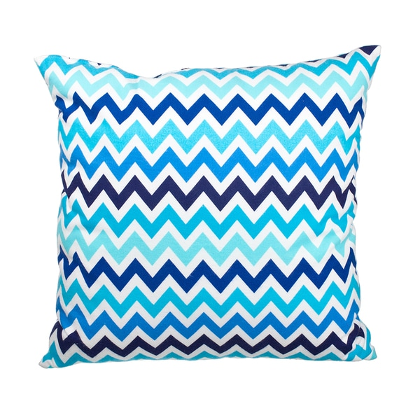 Blue Chevron Flannel Down Alternative Filled 18-inch Throw Pillow