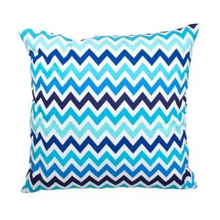 Blue Chevron Flannel Down Alternative Filled 18-inch Throw Pillow