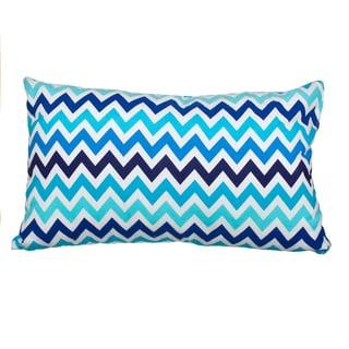 Blue Chevron Flannel Down Alternative Filled 20-inch Throw Pillow