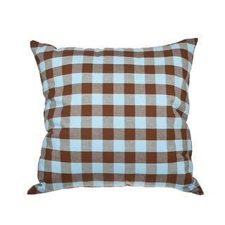 Brown/Blue Buffalo Check Down Alternative Filled 18-inch Throw Pillow