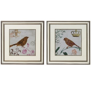 Morning Birds Square Decorative Wall Art (Set of 2)