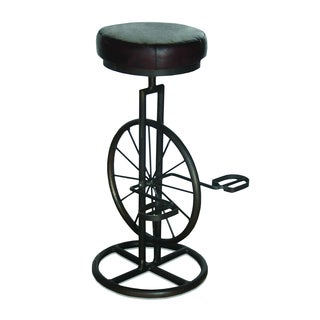 Yosemite Home Decor Brown Iron Leather Bar Stool