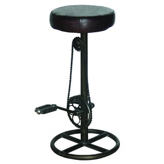Yosemite Home Decor Brown Iron Leather Stool with Padel