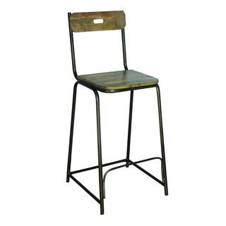 Yosemite Home Decor Brown Iron Wooden Bar Chair