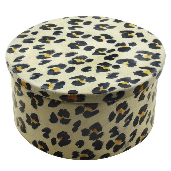 Round Leopard Skin Pattern Trinket Box