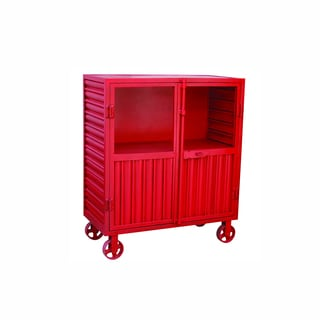Yosemite Home Decor Red Display Cabinet