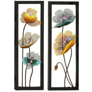 Blossom Hand Crafted LED Lights Metal Wall Art Decor (Set of 2)