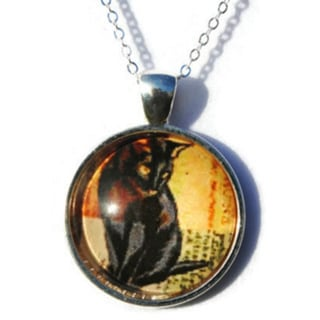 Atkinson Creations Black Cat Dome Pendant Necklace