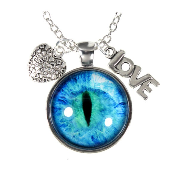 Blue Eye Glass Dome and Heart/ Love Charm Pendant Necklace
