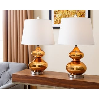 Abbyson Living Sophia Brown Chrome Glass Table Lamps (Set of 2)