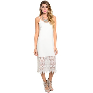 Shop the Trends Women's Spaghetti Strap Midi Dress with V-neck and Crochet Hem with Scalloped Trim