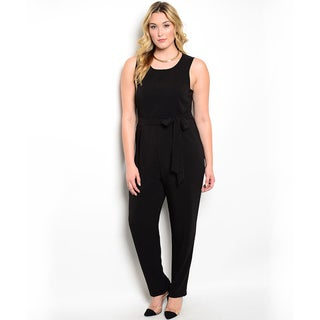 Shop the Trends Women's Plus Size Sleeveless Jumpsuit with Removable Self-tie Waist Sash