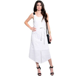 Shop the Trends Women's Sleeveless Woven Eyelet Dress with Contrast Colored Straps and Waist Sash
