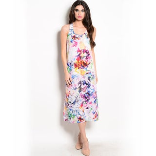 Shop the Trends Women's Sleeveless Woven Dress with Multicolor Floral Print and Scoop Neckline
