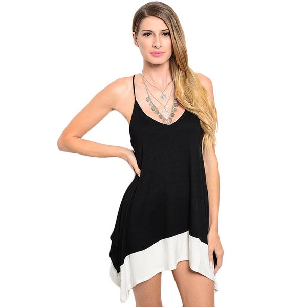 Shop the Trends Women's Spaghetti Strap Tunic Dress with Scoop Nackline and Contrast Colored Hi-Low Hem