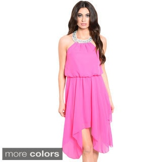 Shop the Trends Women's Sleeveless Hi-Low Chiffon Dress with Embellished Neckline and Blouson Bodice