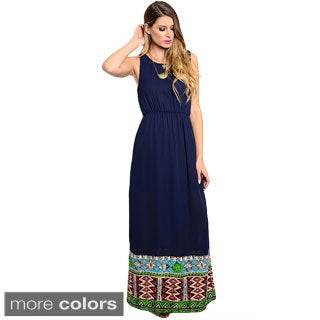 Shop the Trends Women's Sleeveless Chiffon Maxi Dress with Multicolor Print Along Hem