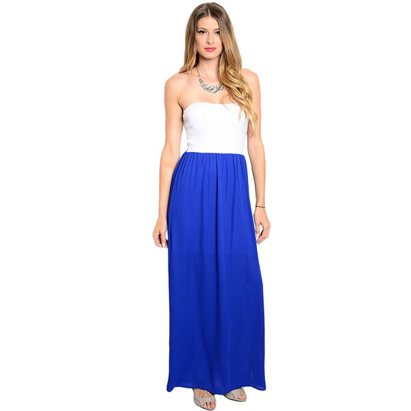 Shop the Trends Women's Strapless Combination Maxi Dress with Fitted Bodice and Chiffon Skirt