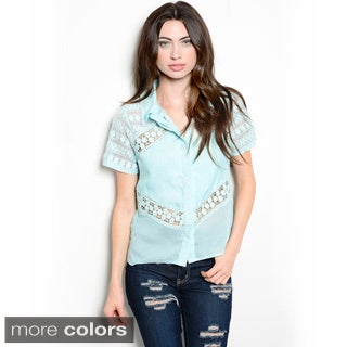 Shop the Trends Women's Short Sleeve Button Down Shirt with Allover Sheer Inserts